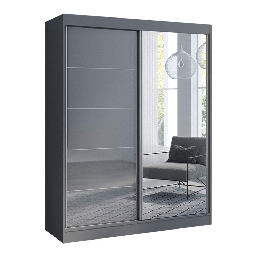 Aria 2 Door 59'' Wide Modern High Gloss Wardrobe Armoire (Gray with Mirror) by MEBLE FURNITURE & RUGS