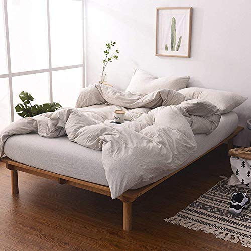 Price comparison product image MisDress Jersey Knit Cotton Duvet Cover Set Twin/Twin XL Size Light Coffee Bedding Set 3 Pieces (1 Duvet Cover + 2 Pillow Cases), Simple Solid Design, Super Soft and Comfy