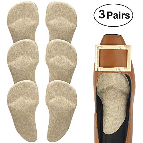 (Beautulip Arch Support Cushions Adhesive Metatarsal and Arch Gel Inserts Flat Feet Pain Relief Ball of Foot Pads - Absorb Sweat Comfortable High Heels Inserts Pack of 6)