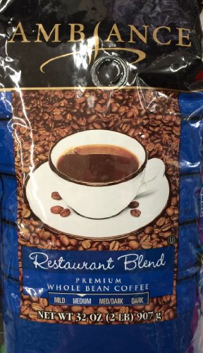 32oz Ambiance Restaurant Blend Premium Whole Bean Coffee (2 Pounds Total) by Ambiance