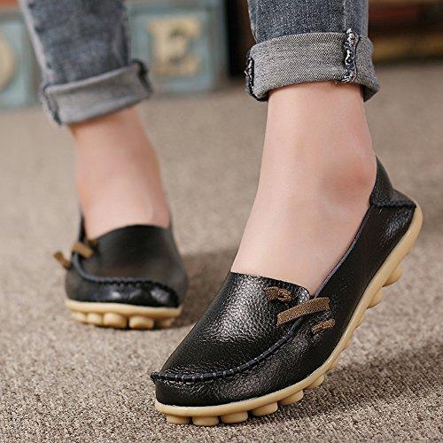 Lucksender Damen Weichleder Comfort Driving Loafers Schuhe Schwarz
