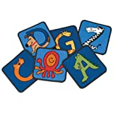 Carpets for Kids 5526 a to Z Animal Squares Set of 26 a to Z, 12'' x 12'', Blue
