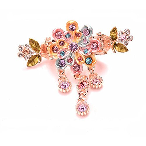 - Painted Flower 8 Petal Metal Hair Claw Jeweled Dangles Sequins on Dual Spring Gold Metal Clip (Multi-Color)