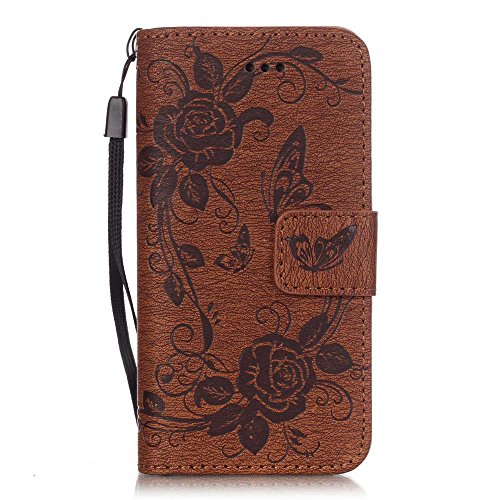 iPhone 5S Case, iPhone SE Case, iPhone 5 Case, JanCalm [Wrist Strap] [Multi Card/Cash Slots] Premium PU Leather Wallet Case STAND Magnetic Flip Folio Cover + Crystal pen (Butterfly Pattern - Brown) (Five Case Pen)