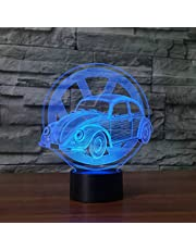 Veranderende Cre Kever Auto Modellering Knop Voertuig s led Nachtlampje Vorm 3D Effect-7 Kleuren cambiantes