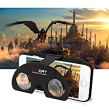 LeaningTech VRCAT Portable Handheld 3D Gear VR Glasses Lens Cover Case, Virtual Reality Box Headset, for iPhone 6 / 6S, 4.7'' Inch Smartphone, Enjoy Movies and Games, Black