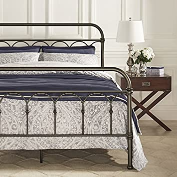 Amazon Com Vintage Metal Bed Frame Antique Rustic Dark Bronze Cast