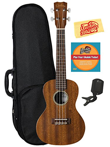 Cordoba 20CM Concert Ukulele Bundle with Hard Case, Tuner, Austin Bazaar Instructional DVD, and Polishing Cloth