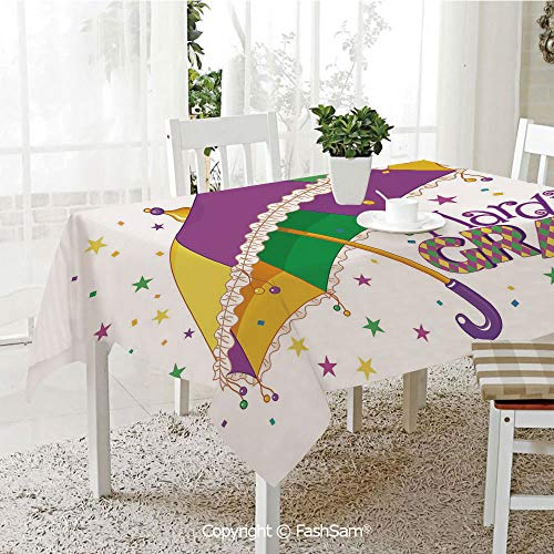 AmaUncle Premium Waterproof Table Cover Parade Preparations Umbrella Stars Confetti Figures Joyful Fun Party Decorative Kitchen Rectangular Table Cover (W60 xL104)]()