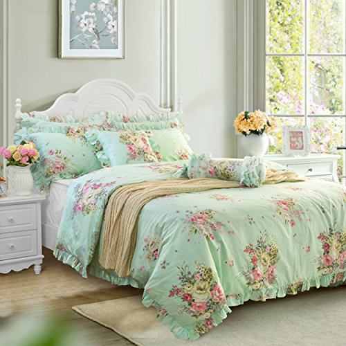 Floral Vintage Sheet Set - FADFAY Green Floral Duvet Cover Sets Vintage Flower Printed Bedding Hypoallergenic 100% Cotton Designer Bedding Set 3 Pieces, 1duvet Cover & 2pillowcases (King/California King Size, Ruffle Style)