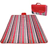 RoryTory Multi-Family Large Red Striped Waterproof Picnic Camp Blanket Mat
