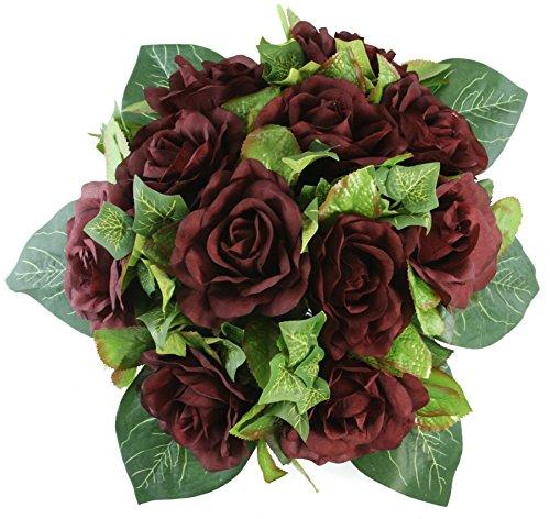 Burgundy Silk Rose Nosegay - Silk Bridal Wedding Bouquet