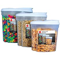 Plastic 3 Piece Cereal Dispenser Set - Dry Food Storage Containers