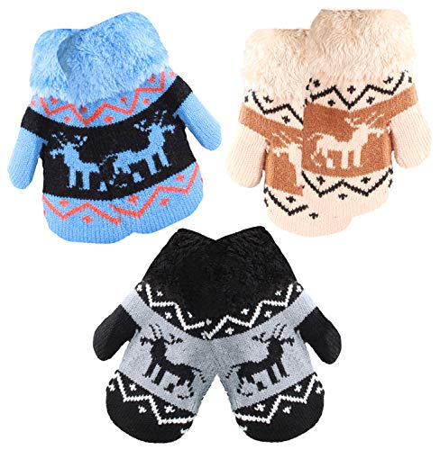 Infant-Toddler 2-3 Years Soft And Warm Fuzzy Interior Lined Mittens 6-Pack (3-5, 3 Pair Deer Blue Beige Black) ()