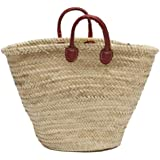 """Moroccan Straw Market Bag w/ Red Handles, 24.5""""Lx6""""Wx14""""H - Palermo Red"""