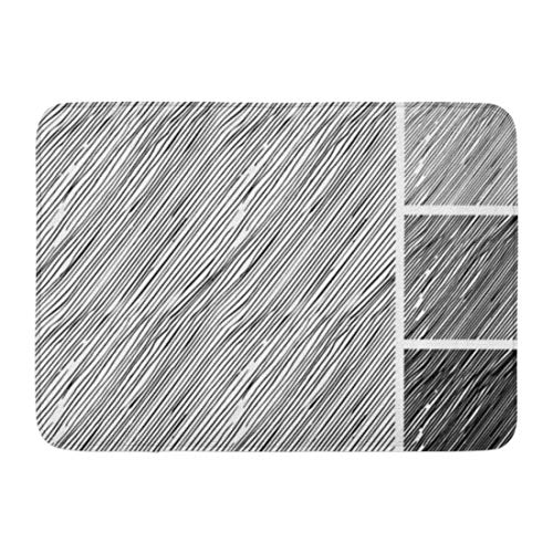 Mid Hatch Design - Aabagael Bath Mat Sketches Rough Parallel Hatching Grunge Pattern Has Three Different Shades Light Mid and Dark Tone Bathroom Decor Rug 16