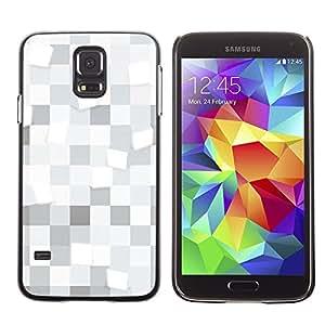 Caucho caso de Shell duro de la cubierta de accesorios de protección BY RAYDREAMMM - Samsung Galaxy S5 SM-G900 - White squares Pattern