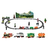 Remote Control Conveyance Car Electric Steam Smoke RC Train Set Model Toy Gift (A)