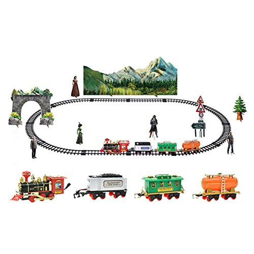 Remote Control Conveyance Car Electric Steam Smoke RC Train Set Model Toy Gift (A) by ABASSKY
