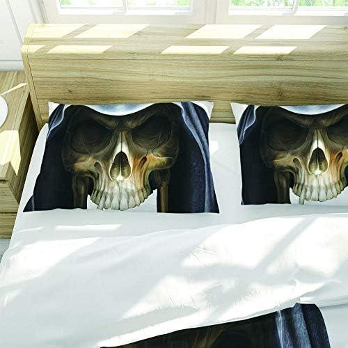 HLLIZ Housse De Couette, Chapeau de crâne 3D Parure De Lit avec Fermeture À Glissière Et 2 Taies,d'oreiller pour Chambre d'enfants Adultes, King Taille,260 Cm W X 240 Cm H