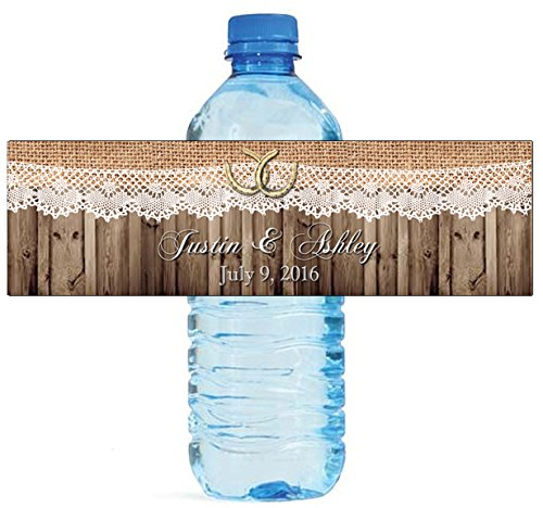100 Burlap Lace Horse shoe Wood Country Wedding Water Bottle Labels Great for Engagement Bridal Shower Party 8''x2'' by DesignThatSign (Image #7)