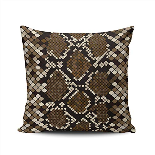 Hoooottle Custom Brown Snakeskin Decorative Pillowcase Throw Pillow Case Cover Zippered European Double Side Printed 26x26 Inches