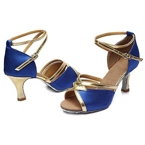 Baile 225 Ballroom Mujer es Swdzm Modelo Zapatos estándar Satén De Azul 7cm tacón Latino Baile FpqHtxwg