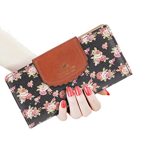 (SeptCity Womens Wallet Cute Floral Soft Leather Clutch Gift for Her, 2071-Black)