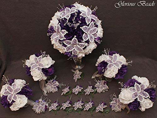 (Purple and Lavender Bouquets Beaded Lily Wedding Flower 18 piece set White Roses ~with Corsages and Boutonnieres. Unique French beaded flowers and Beaded Sprays)
