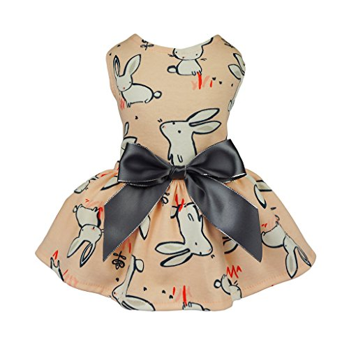 Fitwarm Pink Bunny Cotton Pet Clothes for Dog Dress Vest Shirts Sundress Medium (Dresses For Dogs)