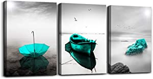 Black and white landscape Pictures Blue Green Umbrella Canvas Print Wall Art for Living Room Boat ocean Wall Artworks Bedroom Decoration, 16x24 inch/piece, 3 Panels Home bathroom Wall decor posters