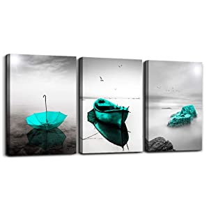 Black and white landscape Pictures Blue Green Umbrella Canvas Print Wall Art for Living Room Boat ocean Wall Artworks Bedroom Decoration, 12x16 inch/piece, 3 Panels Home bathroom Wall decor posters