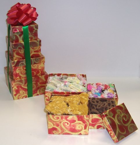 Scott's Cakes 4 Tier Red and Gold Swirl Box Beach Lovers Surprise