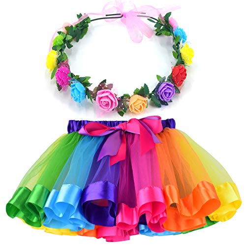 MY-PRETTYGS Layered Tulle Ballet Rainbow Tutu Skirt with Flower Crown Wreath Headband (Rainbow, M,2-4 T)