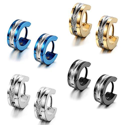 Flongo Men's Womens 8PCS Biker Stainless Steel 4mm Wide Vintage Huggie Hinged Stud Hoop Earrings by Flongo