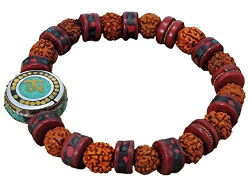 Embedded Yak Bone Rudraksha Wrist Mala Medicine Bracelet Turquoise Om Bead Free Silk Drawing String Pouch