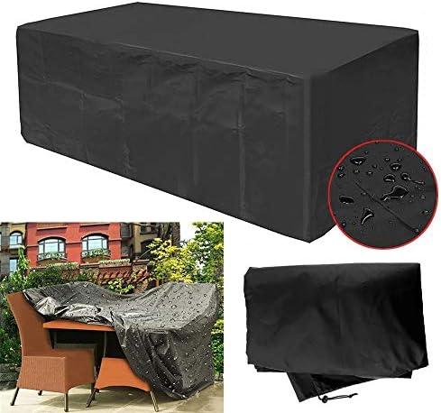 家具ダストカバー テラスの家具ダストカバー防水オックスフォード屋外のラタン表保護ダブルステッチシーム 幅広い用途 (色 : Black, Size : 270x180x89cm)