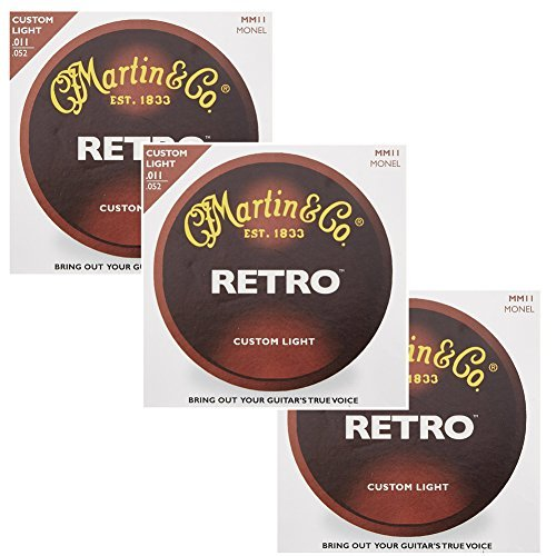 Martin MM11 Retro Monel Acoustic Guitar Strings, Custom Light, 11-52 (3 Packs)