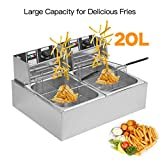 Chennly Dual Tank Electric Deep Fryer - 20L 5000W Stainless Steel Commercial Electric Deep Fat Fryer with Basket & Drain, Professional Large Temperature Control Fryer