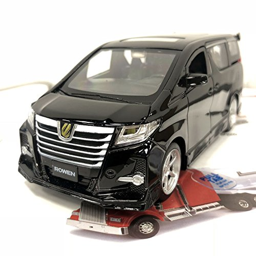 Leo Jackiekim 1/32 Scale Car Model Toys JAPAN TOYOTA Alphard S-qrade Rowen MPV Sound&Light Diecast Metal Pull Back Car Toy For Gift/Kids/Collection (black)