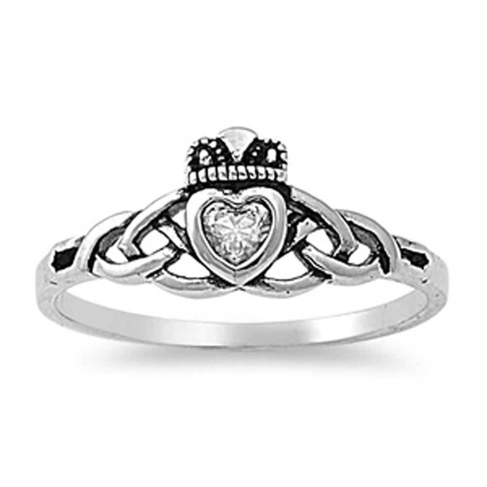 CHOOSE YOUR COLOR Sterling Silver Claddagh Celtic Knot Ring Sac Silver