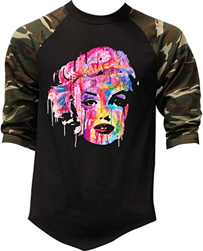 - Men's Dripping Neon Graffiti Marilyn Monroe Tee Black/Camo Raglan Baseball T-Shirt X-Large Black/Camo