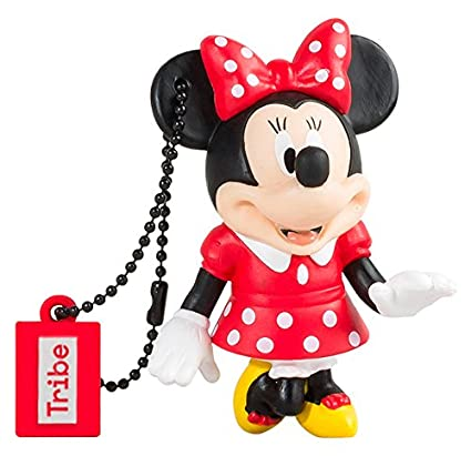 Tribe Disney Minnie Mouse - Memoria USB 2.0 de 16 GB Pendrive Flash Drive de goma con llavero, multicolor