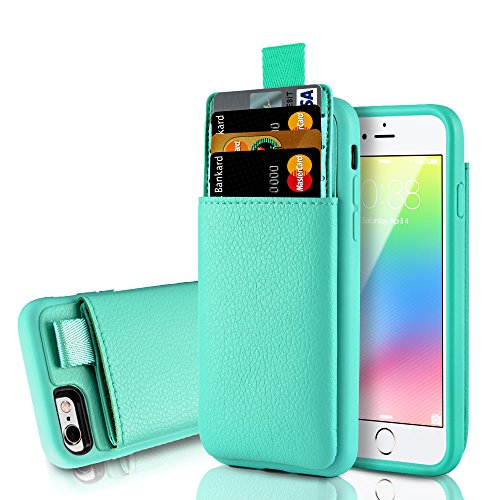 lus Card Holder Case, LAMEEKU Protective Wallet Cover Leather Wallet case Credit Card Slot Holder, Holder Cover Compatible for iPhone 6 Plus / 6S Plus 5.5 inch - Mint Green ()