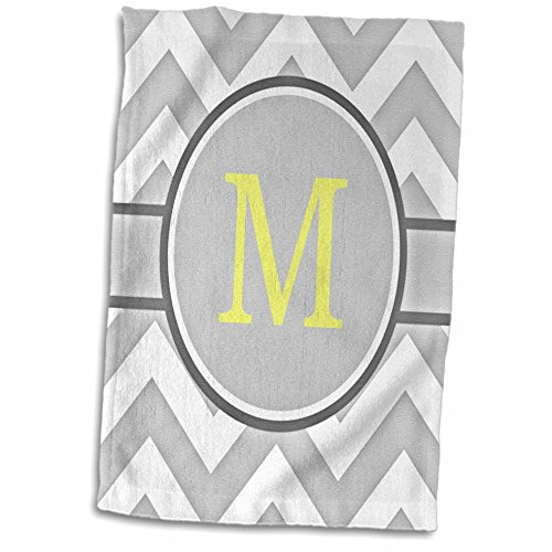 (3D Rose Grey and White Chevron with Yellow Monogram Initial M Hand Towel, 15