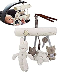 Vikenner Baby Cute Music Plush Activity Crib Stroller Soft Toys Bed Hanging Rabbit Star Shape – White