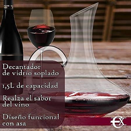 EUROXANTY Decantador   Decantador de Vino   Decantador de Vidrio soplado   Jarra para Servir Vino   Oxigenador de Vino   Realza sabores y matices   con asa   1,5 litros