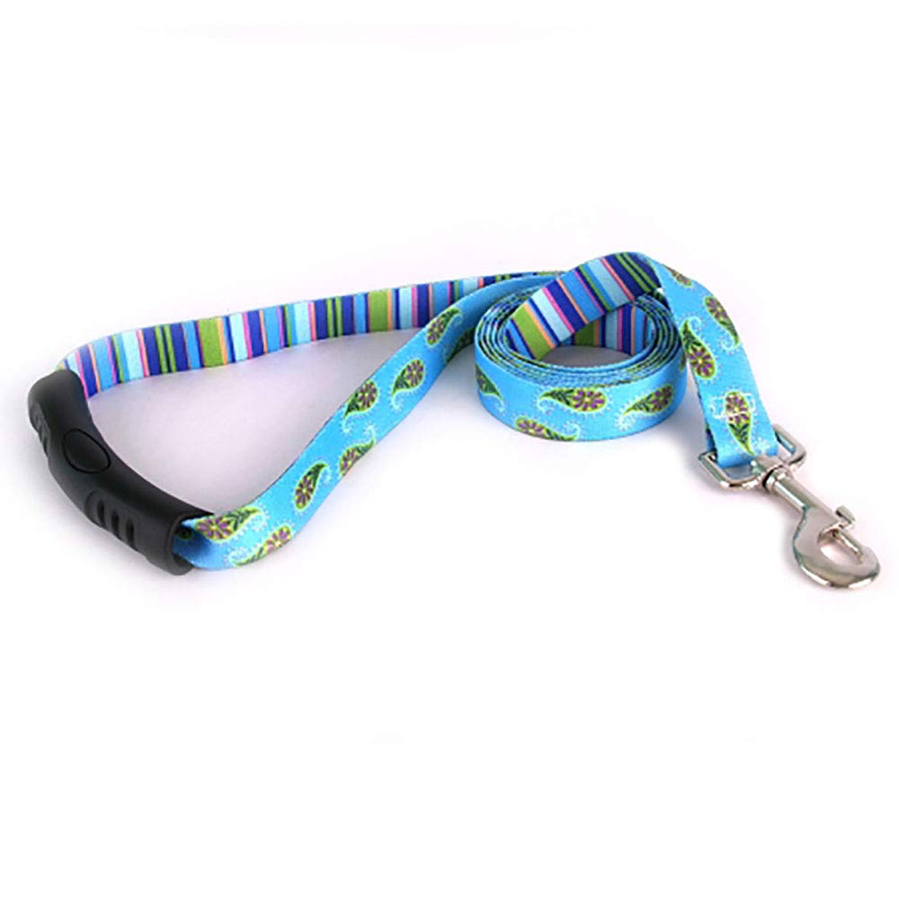 Yellow Dog Design Blue Paisley Ez-Grip Dog Leash with Comfort Handle 3/4'' Wide and 5' (60'') Long, Small/Medium