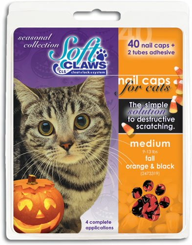 Feline Soft Claws 40-Pack Pet Halloween Colors Nail Cap Kit, Small, Black and Orange
