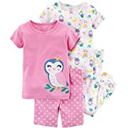 Carter's Girls' 6M-5T 4 Piece Owl Pajama Set 2T